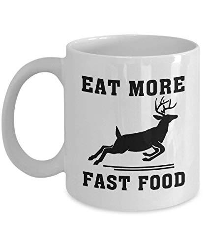 Taza de caza de ciervos, ideal como regalo de caza para cualquier arco, cazador de armas, mujeres, mamá, esposa, ella, chicos, hermana para el día de la madre, feliz año nuevo, taza divertida de cerámica, taza de té de 11 onzas color blanco