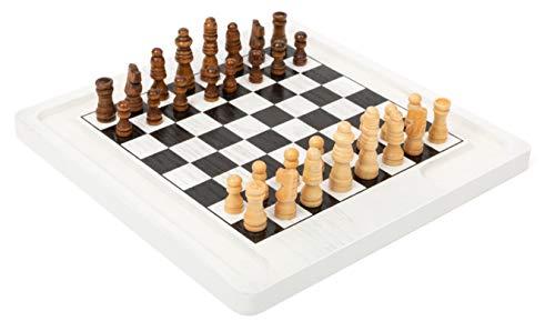 Small Foot Small Foot-11395 Scacchiera Dama e Scacchi, Legno, 2 Giochi Classici in 1, Gioco da Tavolo Giocattoli, Multicolore, 11395
