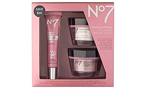 Skin Care   No7 Restore & Renew Face & Neck Multi Action Skincare System , pack of 1, Gym exercise ab workouts - shap2.com