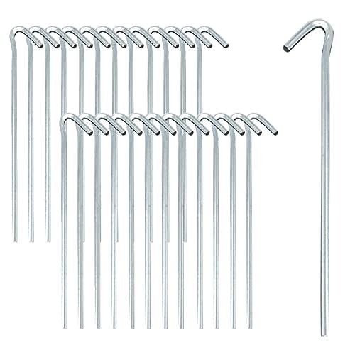 ToCi 24x Zelt-Heringe | Stahl verzinkt 25 cm lang | Lange und robuste Zelthaken Erdnägel für Camping und Outdoor – ideal für normalen Böden – Ø 4 mm