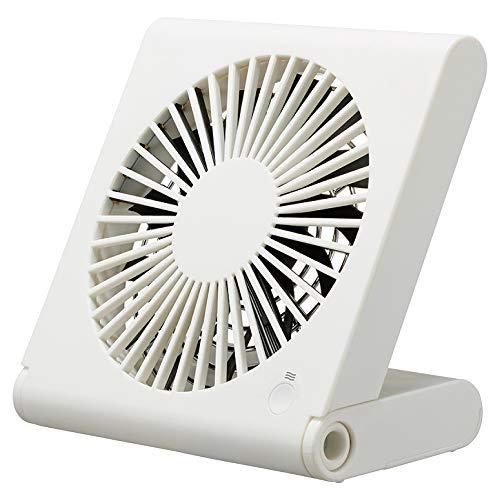 ドウシシャ 卓上扇風機 スリムコンパクトファン 3電源(AC USB 乾電池) 風量3段階 静音 ピエリア ホワイト FSV-106U WH