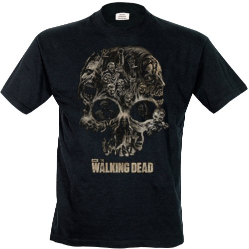 The Walking Dead Skull Black T-Shirt, Noir, XXL Homme