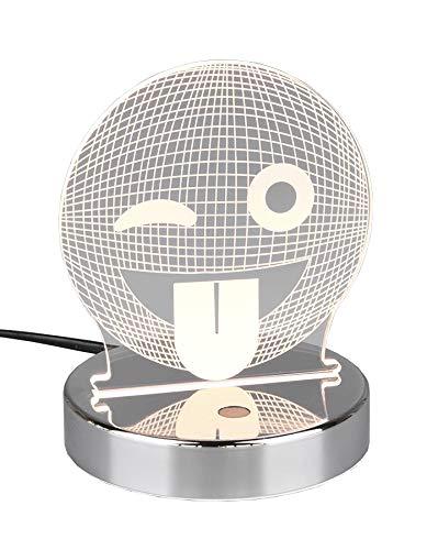 Preisvergleich Produktbild Reality Leuchten LED Lasercut Tischleuchte Smiley R52641106,  Metall Chrom,  Acryl Motiv Smiley,  inkl. 3, 2 Watt RGB LED mit Farbwechsel