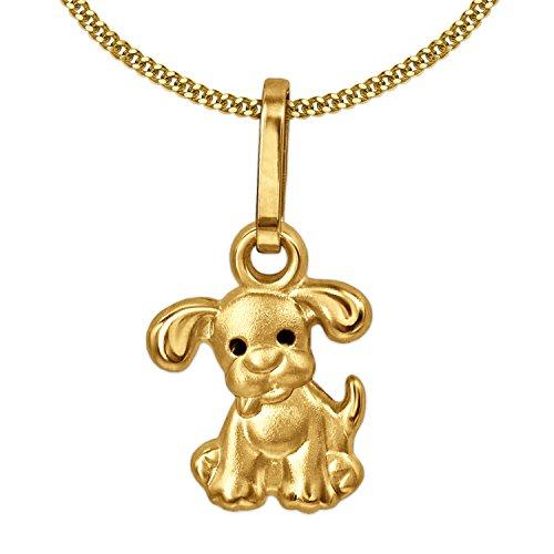 CLEVER SCHMUCK Set Goldener Anhänger Mini Hund mit schwarzen Augen 333 Gold 8 Karat und vergoldeter Kette Panzer 40 cm für Kinder im Etui