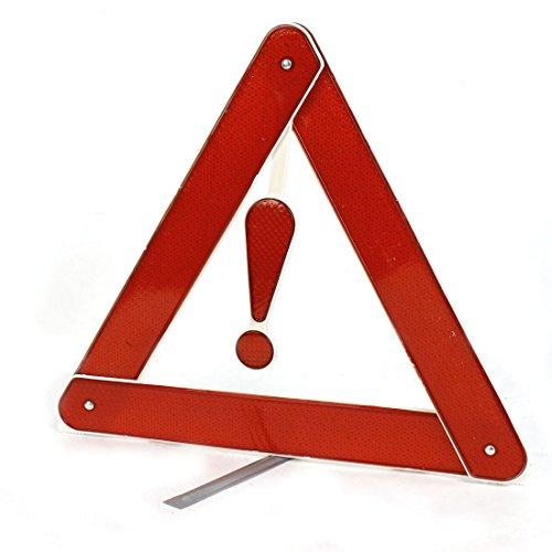 sourcingmap Triangle de signalisation réflecteur argent et rouge avec support pour voiture, sécurité routière