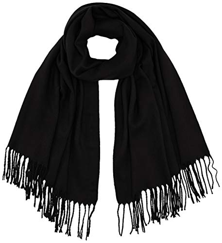 ONLY Damen ONLANNALI Weaved Scarf CC Schal, Black, ONE Size