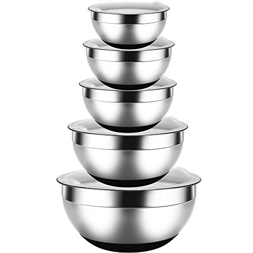 REGILLER Stainless Steel Mixing Bowls with Lids (Set of 5), Nesting Bowls Black Non-Slip Silicone Bottoms Great for Mixing, Baking, Prepping