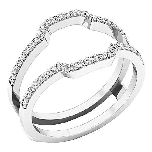 0.25 Carat (ctw) Round White Diamond Ladies Wedding Enhancer Guard Ring 1/4 CT, 10K White Gold, Size 6.5
