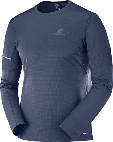 Salomon Cami seta deportiva de manga larga, agile ls tee, mezcla de sintéticos, azul (Night Sky), hombre, talla: L