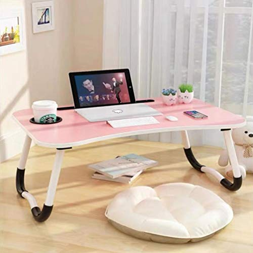 Laptop Bed Table,Notebook Table Dorm Desk,Portable Lap Desk,Notebook Table Dorm Desk with Foldable Legs & Cup Slot,for Eating Breakfast,Reading,Watching Movie on Bed/Sofa(60 x 40cm) Pink