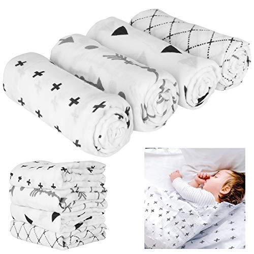 iFCOW 4 unids/lote muselina bebé Swaddle mantas Recibir mantas abrigo para niños niñas 47 x 47 pulgadas