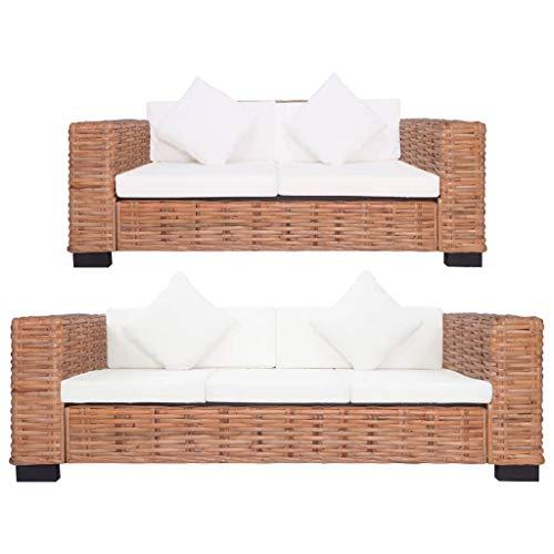 vidaXL Sofagarnitur 2-TLG. mit Auflagen Sofa Couch Loungesofa Sitzmöbel Wohnzimmersofa Rattansofa Designsofa Couchgarnitur Natur Rattan