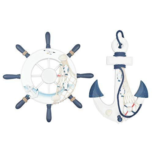 Fangoo 2 Pack 32 CM Rueda de Barco de Madera y 32 CM Ancla de Madera con Cuerda Barco náutico Dirección Timón Decoración de Pared Adorno Colgante de Puerta