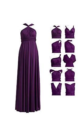 72STYLES Bridesmaid Dresses Long V Neck Elegant Off Shoulder Wedding Evening Dress Bridesmaid Dress Convertible Multi-Way Dress Dark Purple