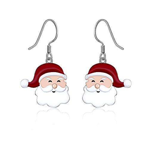 Christmas Santa Claus Dangle Earrings for Women Girls 925 Sterling Silver CZ Pierced Studs Hook Drop Festive Holiday Jewelry Set Xmas Gifts Cute Hypoallergenic Earrings -  Designer Fabrics, C849