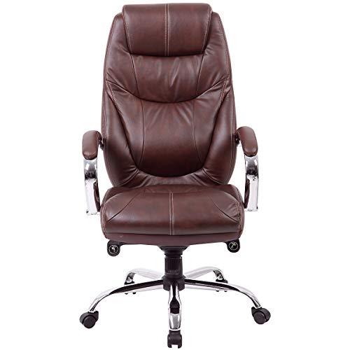 Certeo Bürostuhl Genua - Chefsessel mit hoher Rückenlehne - Soft Touch Leder in braun - Schreibtischstuhl mit italienischem Design