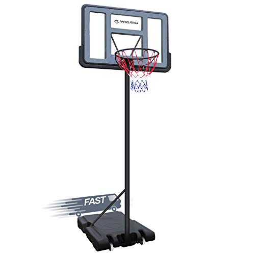 WIN.MAX Portable Basketball Hoop Goal System 5-10ft Adjustable Height 43in Backboard for Kids/Adults Indoor Outdoor