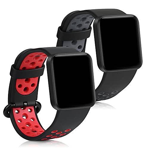 kwmobile 2X Brazalete Compatible con Xiaomi Mi Watch Lite/Redmi Watch - Pulsera de Silicona y TPU Negro/Rojo/Negro/Gris sin Fitness Tracker