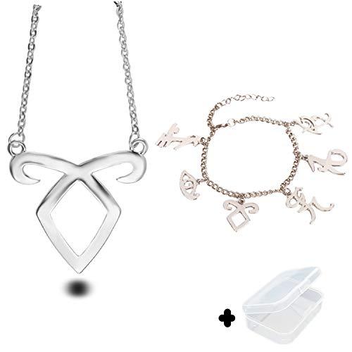 The Mortal Instruments City of Bones inspiriert Angelic Power-Rune Symbole Armband und Halskette Set mit Schmuckkasten von PPX-Silber