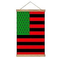 パンアフリカンアメリカンフラッグ リネンキャンバスハンギングポスター壁アート絵画家の装飾タペストリー寝室のリビングルームオフィス52X33.54CM