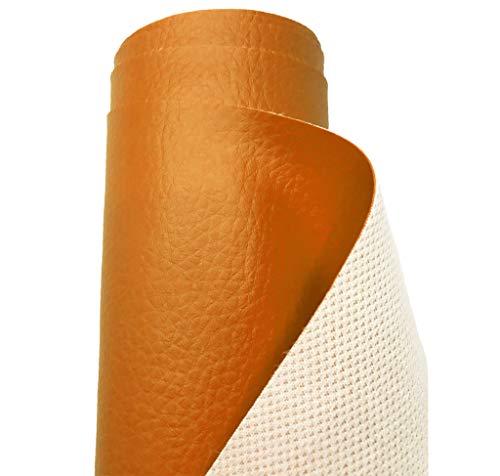 A-Express Tela de grano de cuero de imitación material texturizado por tapizar, Polipiel, Manualidades, vinilo, Cojines o forrar Objetos - Naranja 1 Metro 100cm x 140cm