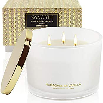 96NORTH Luxury Soy Vanilla Candles | Aesthetic Large 3 Wick | All Natural Long Lasting Candles for Home | Comfort Birthday Gifts for Women | Aromatherapy Scented Candles