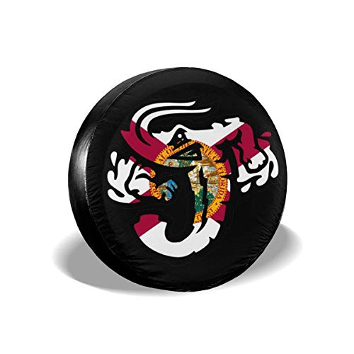 BI HomeDecor Spare Wheel Tire Cover,Jacksonville Jumbo Shrimp Florida Flag Reifenabdeckung, Personalisierte Saisonale Radkappen Für Die Meisten Fahrzeugauto-Rad,60-69cm