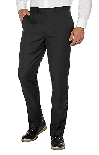 Kenneth Cole New York Men's Flat Front Dress Pant (Black, 36W x 30L)
