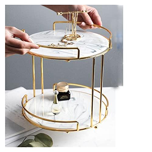 WWWL Kosmetische Ständer Luxery Marmor Doppelschicht Kosmetische Aufbewahrungsgestelle Desktop-Schmuck-Parfüm-Box-Platten-Party-Kuchen-Dessert Kosmetik Speicher Regal