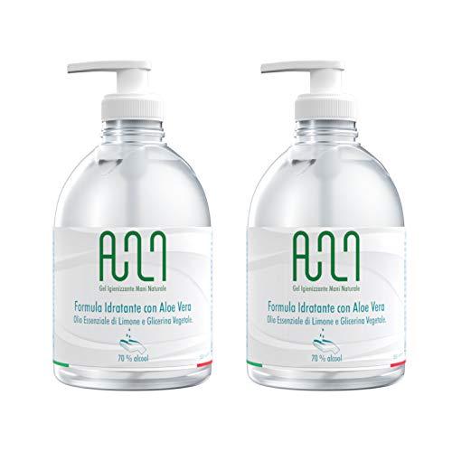 Gel Igienizzante Mani Alcolico 70% - Gel Disinfettante Mani NATURALE con Aloe, olio di Limone e Dispenser 2 x 500ml (2)
