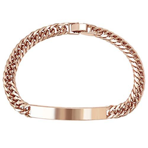 AT Jewellery - Pulsera de eslabones lisos GF para hombre de oro rosa