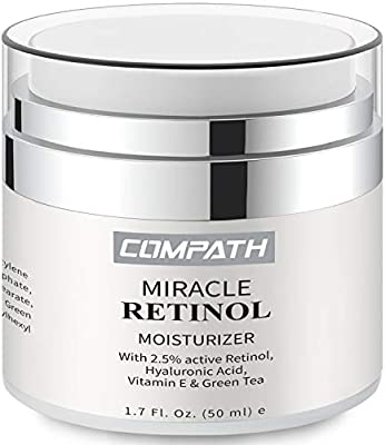 Retinol Moisturizer Cream, COMPATH Anti-aging Wrinkle Night/Day Cream for Eye and Face, Reduces Wrinkles and Fine Lines, with 2.5% Active Retinol, Hyaluronic Acid, Vitamin A C E-1.7 oz