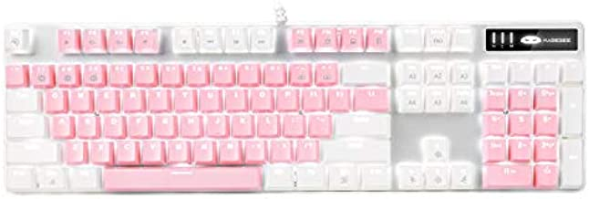 Mechanical Gaming Keyboard, MageGee 2021 New Upgraded Blue Switch 104 Keys White Backlit Keyboards, USB Wired Mechanical Computer Keyboard for Laptop, Desktop, PC Gamers(White & Pink)