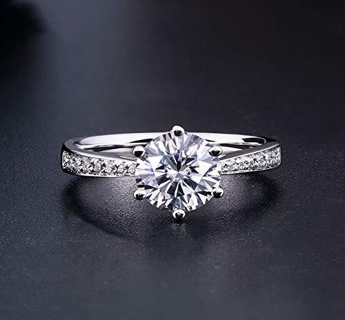 LuckyOne Anillo de plata de ley 925 Moissanita estilo clásico anillo de corte redondo de diamante de una sola fila anillo de compromiso de 1 ct 2 ct 3 ct
