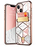 i-Blason Cosmo Wallet Case for iPhone 13 6.1 inch (2021 Release), Slim Designer Wallet Protective Case with Card Holder(Marble)