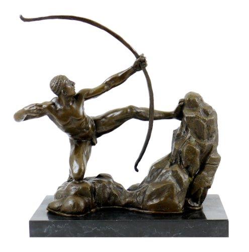 Kunst & Ambiente - Herakles der Bogenschütze Bronzefigur - signiert von Juno - Herakles tötet die stymphalischen Vögel - Skulptur in Bronze - Deko Figuren edel