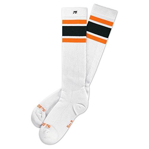 Spirit of 76 Cali Roots Hi | Hohe Retro Socken mit Streifen Weiß, Orange und Grün gestreift | stylische Unisex Kniestrümpfe Größe M (39-42)