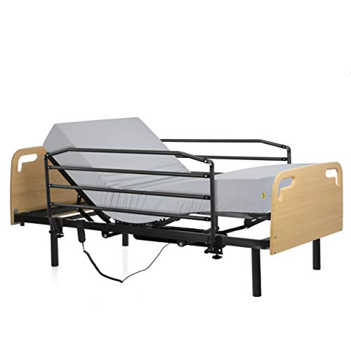 Ferlex - Cama articulada eléctrica geriátrica hospitalaria con Patas fijas | Cabecero y Piecero | Colchón Sanitario viscoelástico | Barandillas abatibles (90x190)