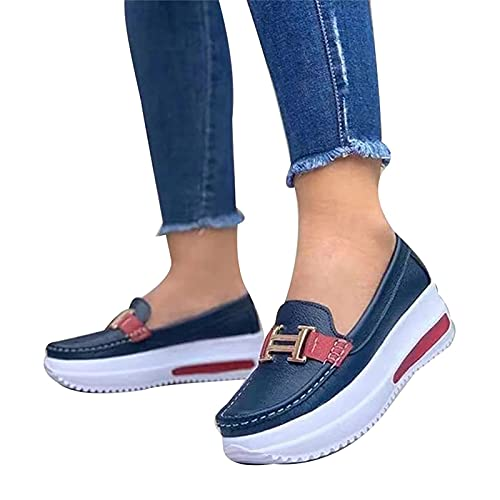 QAZX 2021 Women's Casual Comfortable Platform Loafers Slip On Flat Boat Shoes, Non-Slip Comfort Driving Shoes, Round Toe Wedge Heels Casual Flat PU Walking Shoes (38,Dark Blue)