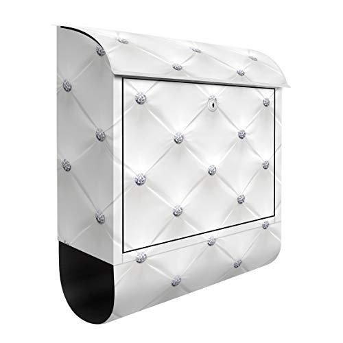 Bilderwelten Briefkasten mit Zeitungsrolle Diamant Weiß Luxus 46cm x 39cm