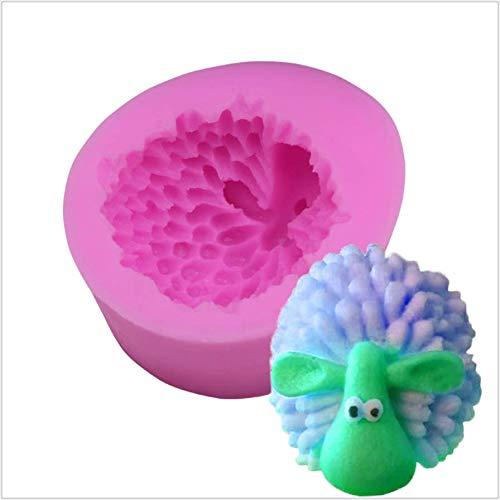 ANNIUP Molde de silicona para fondant de oveja 3D, moldes de manualidades hechos a mano para jabón, caramelo, chocolate, pasta de gomas, azúcar, decoración de pasteles y herramientas para hornear