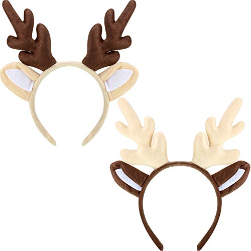 Bememo 2 Pieces Antler Headband Reindeer Headband Christmas Easter Headwear with Ears (Style B)