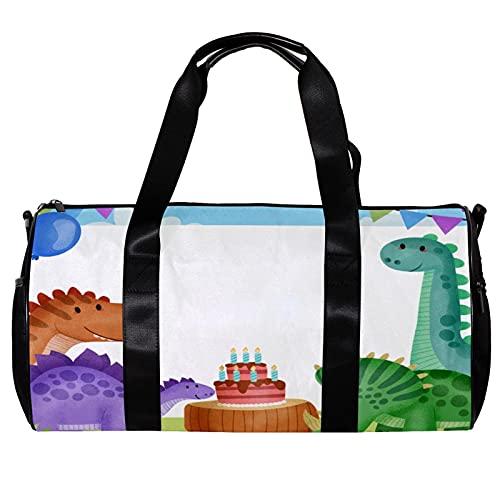 Runde Sporttasche mit abnehmbarem Schultergurt, Geburtstagsparty mit Kuchen, Dinosaurier-Training, Handtasche für Damen und Herren