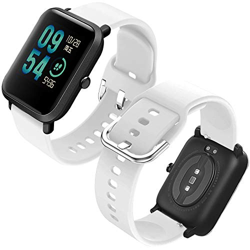 Th-some Correa para Amazfit GTS Impermeable Universal - Reemplazo de Pulsera Ajustable para Xiaomi Huami Amazfit Bip/Amazfit Bip bit Lite Youth/Amazfit GTR 42mm Watch, Sin Tracker (Blanco)