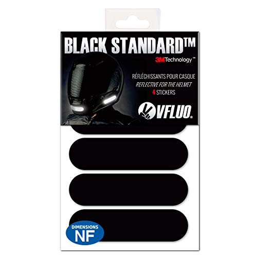 VFLUO Black Standard™, Kit de 4 Pegatinas Retro Reflectantes para Casco de Moto, Visibilidad de Noche, 3M Technology™, Negro