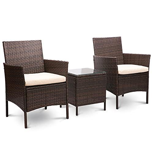 Juego de muebles de jardín de mimbre de ratán de 3 piezas para patio al aire libre, incluye cojín, una mesa de cristal, color marrón