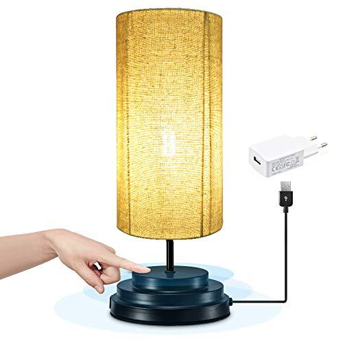 Bonlux Regulable 4W 5V Redonda LED Lámpara Moderna de Mesilla con Sensor de Tacto, Lámpara Vintage Mesita para Noche, LED Lámpara Escritorio para Dormitorio, Oficina (Luz Cálida)