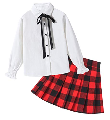 Women's Outfit, Long Sleeve Button Down Shirt with Bow-tie & High Waist Plaid Pleated Skirt for Women, Red Black Plaid, US Adult XL (16-18) = Tag 2XL