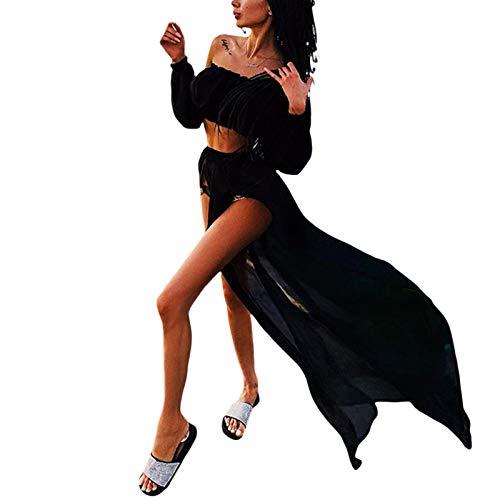 L&ieserram Strandkleid Damen Lang Strand Maxi Rock + Off Shoulder Oberteil Crop Top Sommerkleid Chiffon High Waist Bikini Cover Up Transparent Sommer Strand Bademode Outfit (Schwarz, Einheitsgröße)