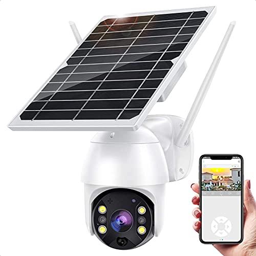 Cámara de seguridad inalámbrica al aire libre, WiFi Pan Tilt Spotlight Cámara IP con batería solar 1080P con visión nocturna de color, detección de movimiento PIR, WiFi 2.4G, audio de 2 vías